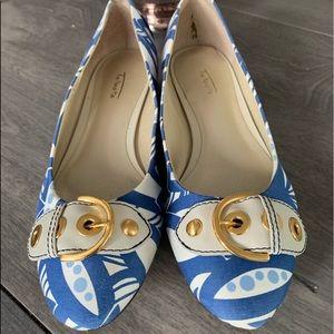 Talbots Women's Satin Floral Blue Flats Sz 8.5